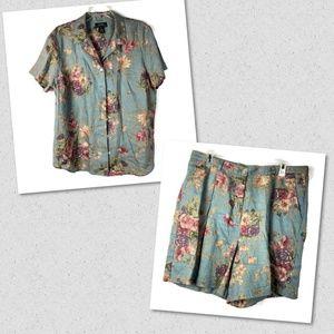 Ralph Lauren women 2 Piec Linen Shirt & Shorts 61E